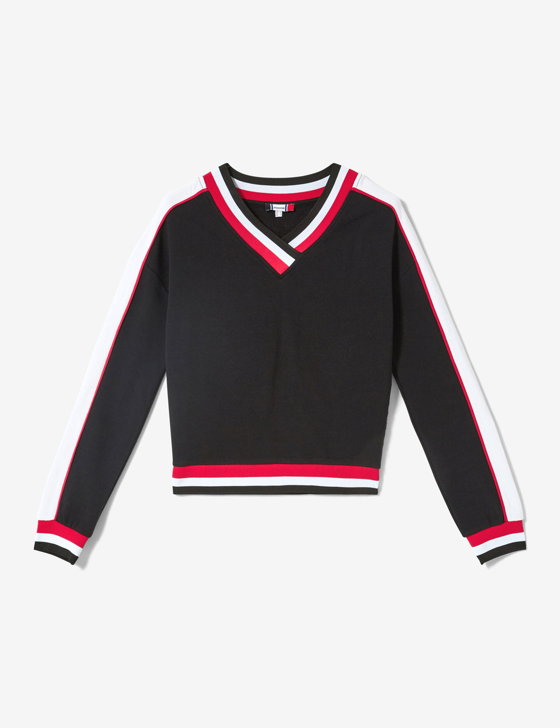 Black, red and white sweatshirt with striped edging detail
