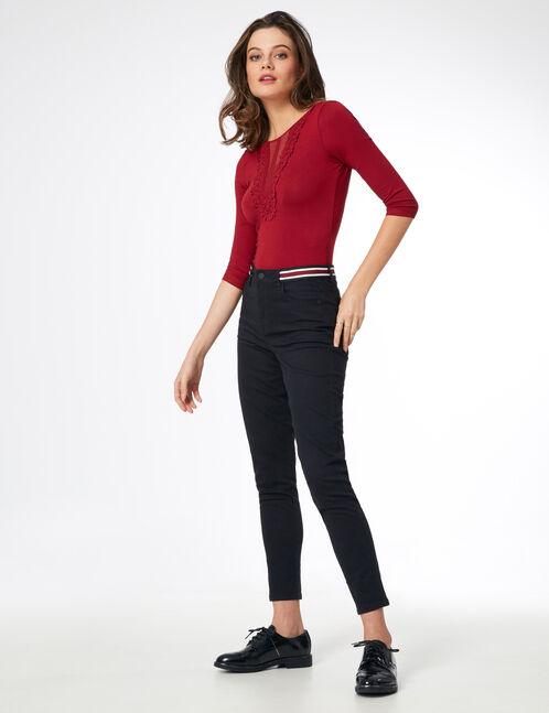 pantalon détail rayé noir
