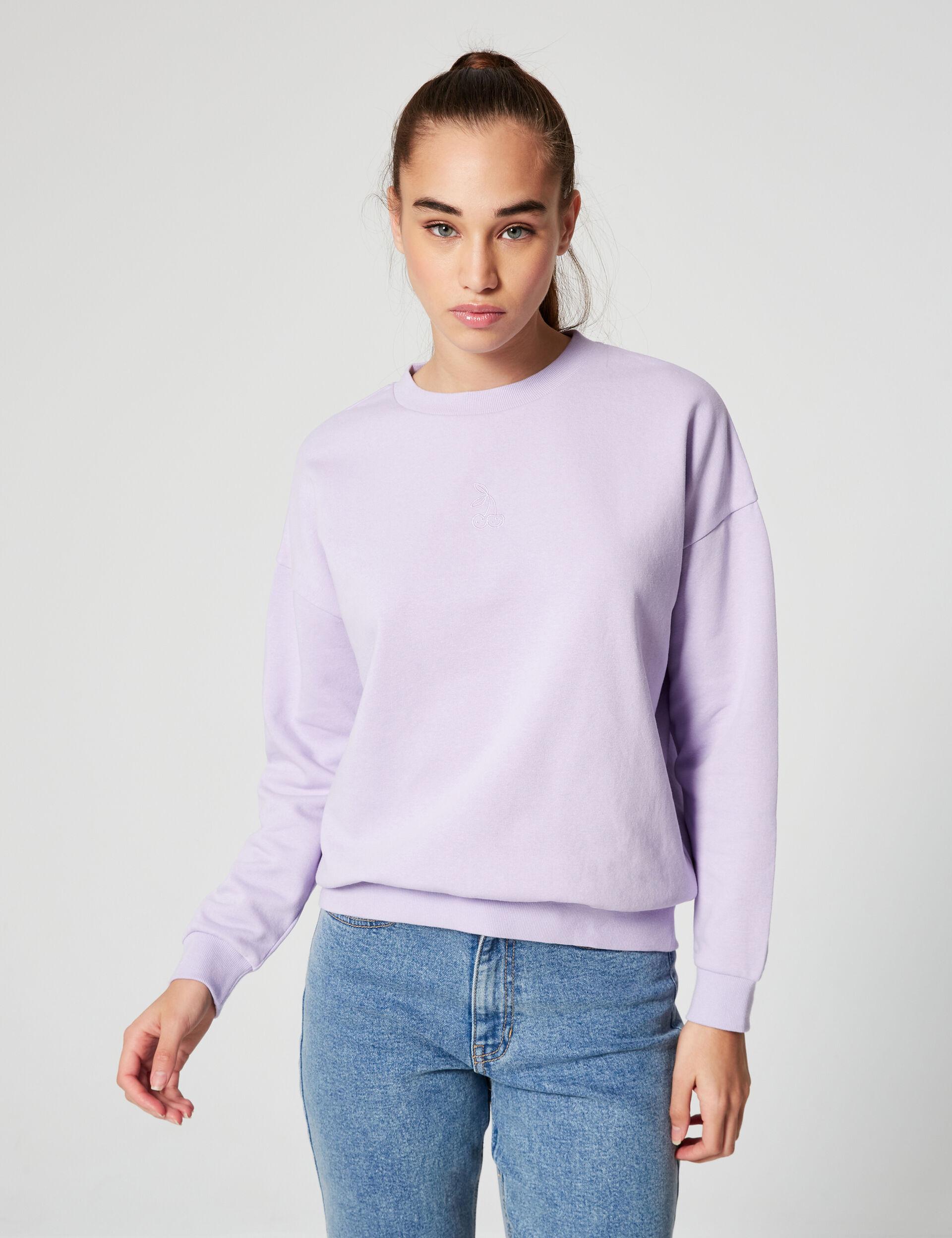 Embroidered cherry sweatshirt