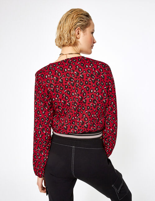 Red leopard print wrap blouse