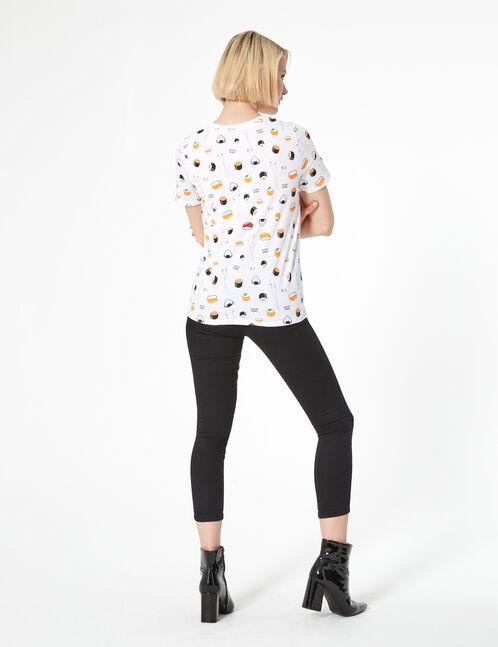 tee-shirt imprimé sushi blanc