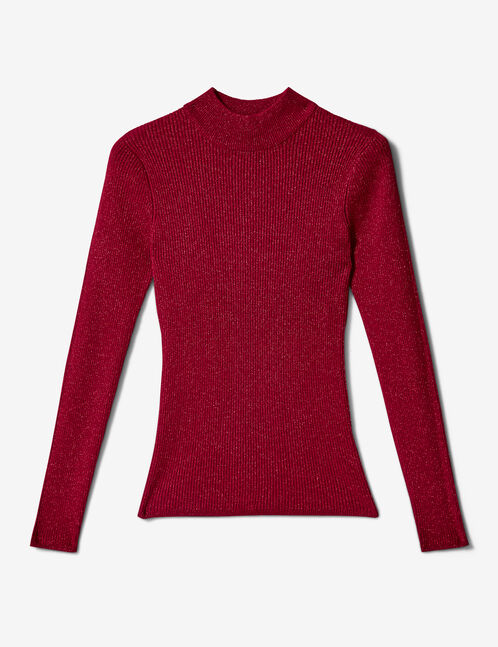 Red ribbed jumper with lurex detail