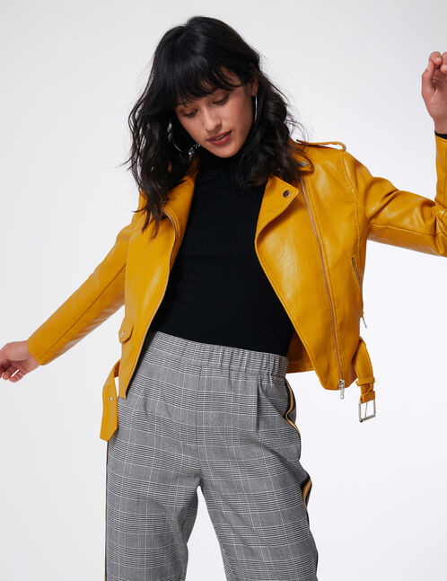 Ochre biker jacket with belt