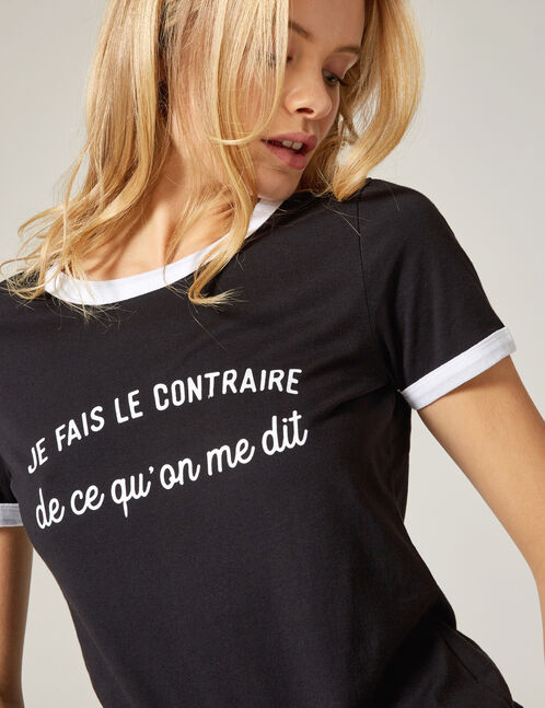 Black and white T-shirt with text design detail