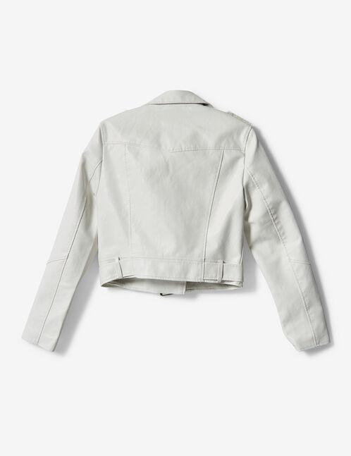 veste biker blanc
