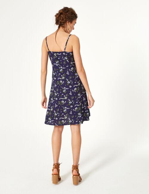 Robe fleurie bleu marine