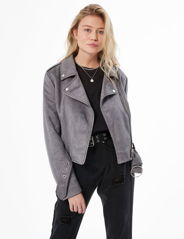 Faux-suede biker jacket