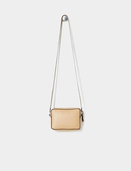 Small beige zipped cross-body bag