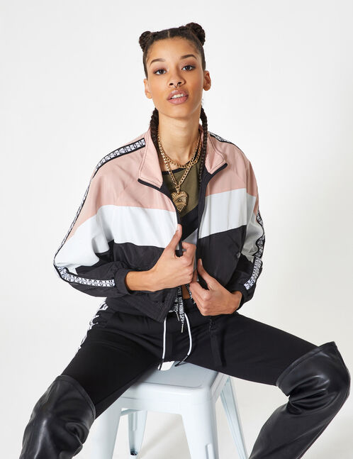 Black, cream and light pink tricolour lightweight jacket