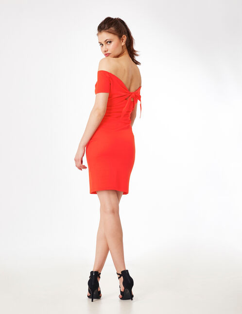 Red dress with back tie detail