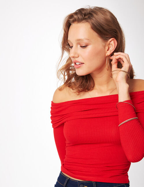 Red off-the-shoulder top
