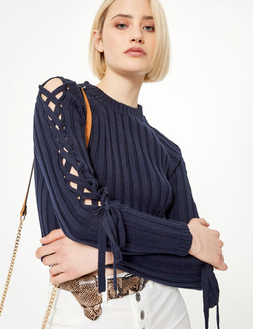 Navy blue jumper with lacing detail