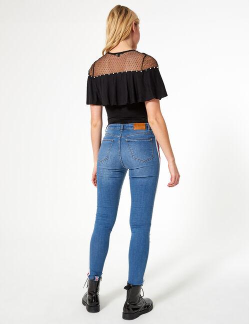 jean avec bandes bleu rouge et blanc