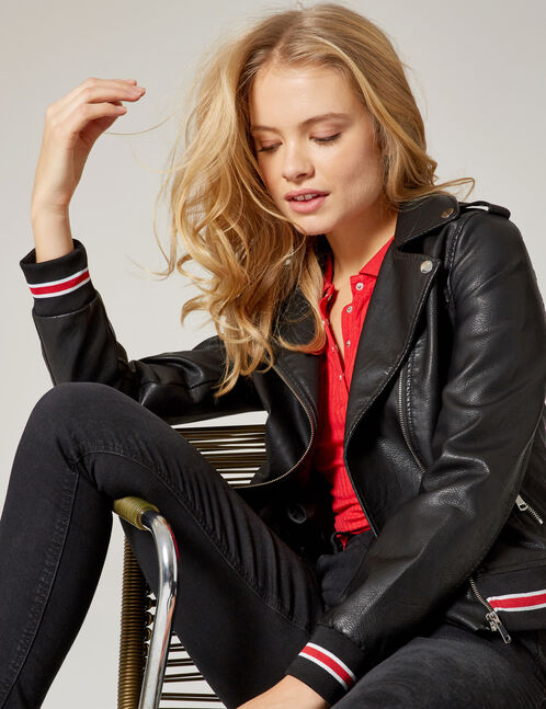 Black biker jacket with striped edging detail