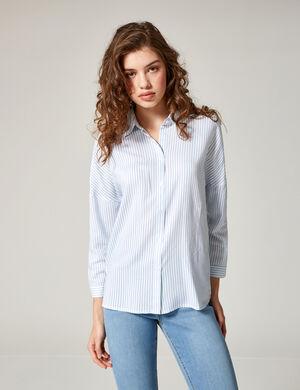 Product Chemise femme, blanc et bleu clair, rayé, patte de boutonnage, manches longues.  Photos retouchéesMarque Jennyfer Catégorie chemises + blouses