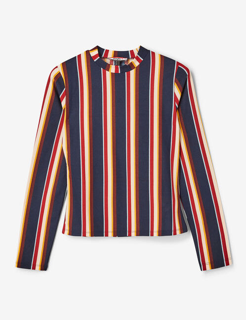 Navy blue, burgundy, ochre, light pink and white striped top