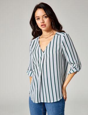 blouse rayée blanche, verte et bleue