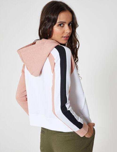White, black and pink zip-up hoodie