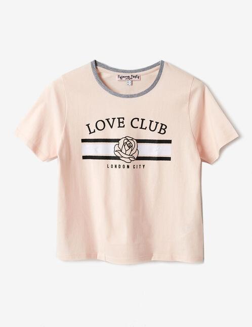 set pyjama love club rose clair, noir et gris chiné