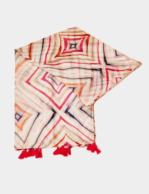 foulard géométrique rose clair