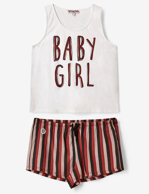 set pyjama à message écru, rouille, rose clair et noir