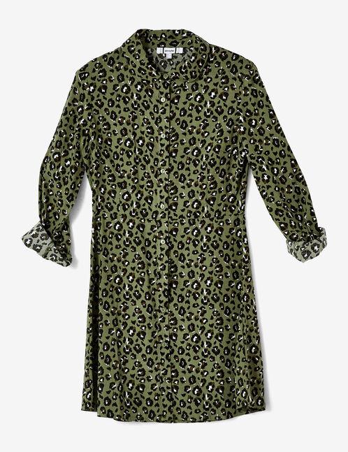 robe chemise léopard verte