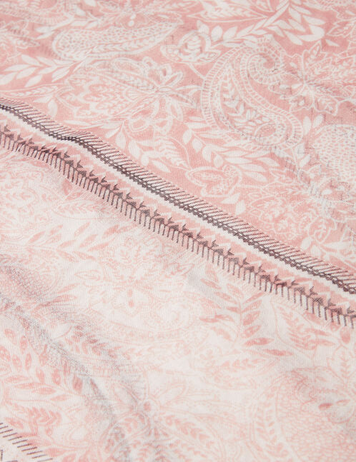 tour de cou fleuri rose clair