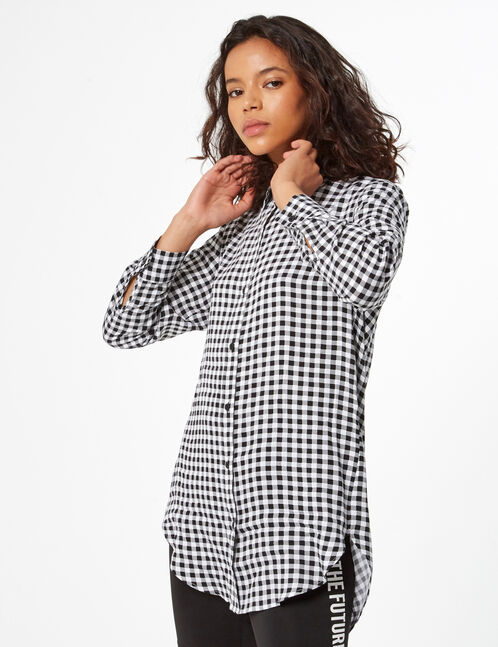 Long gingham shirt