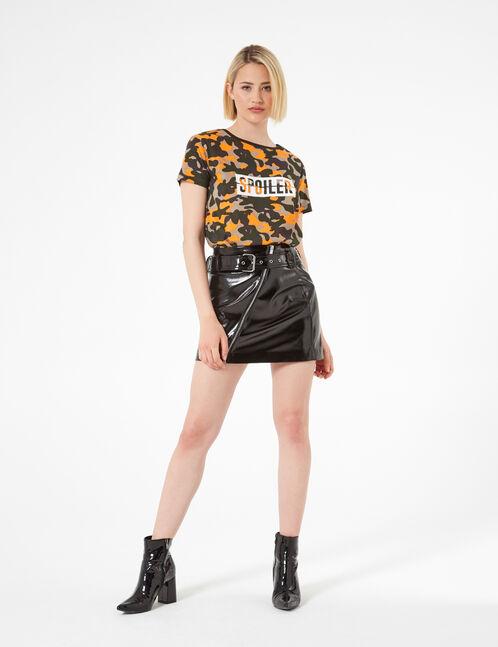 jupe zippée en vinyle noire