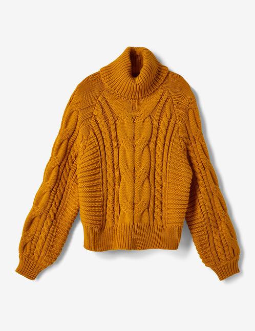 Ochre braided knit polo neck jumper