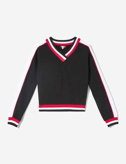 sweat finitions rayées noir, rouge et blanc