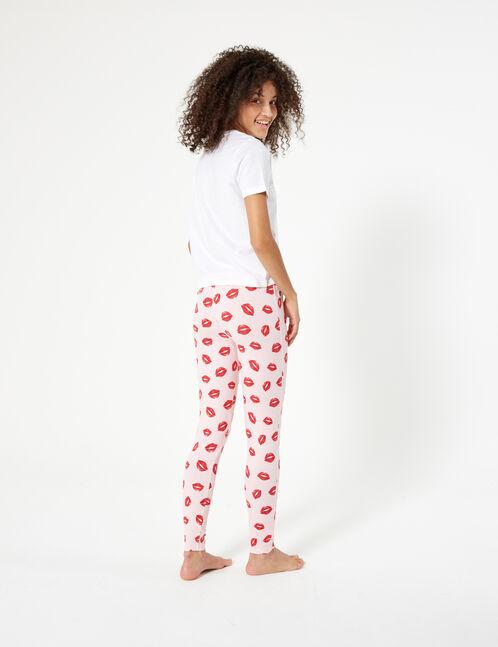 set pyjama à message rose clair, rouge et blanc