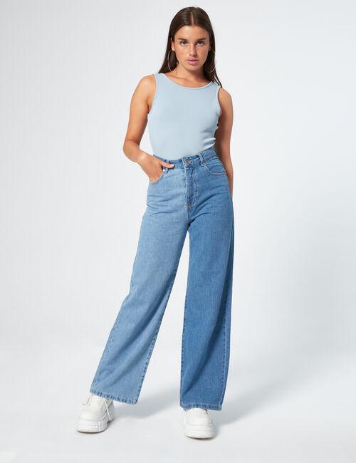 Jean wide leg bicolore
