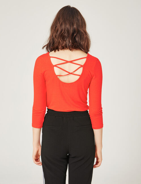 Red top with strappy back detail