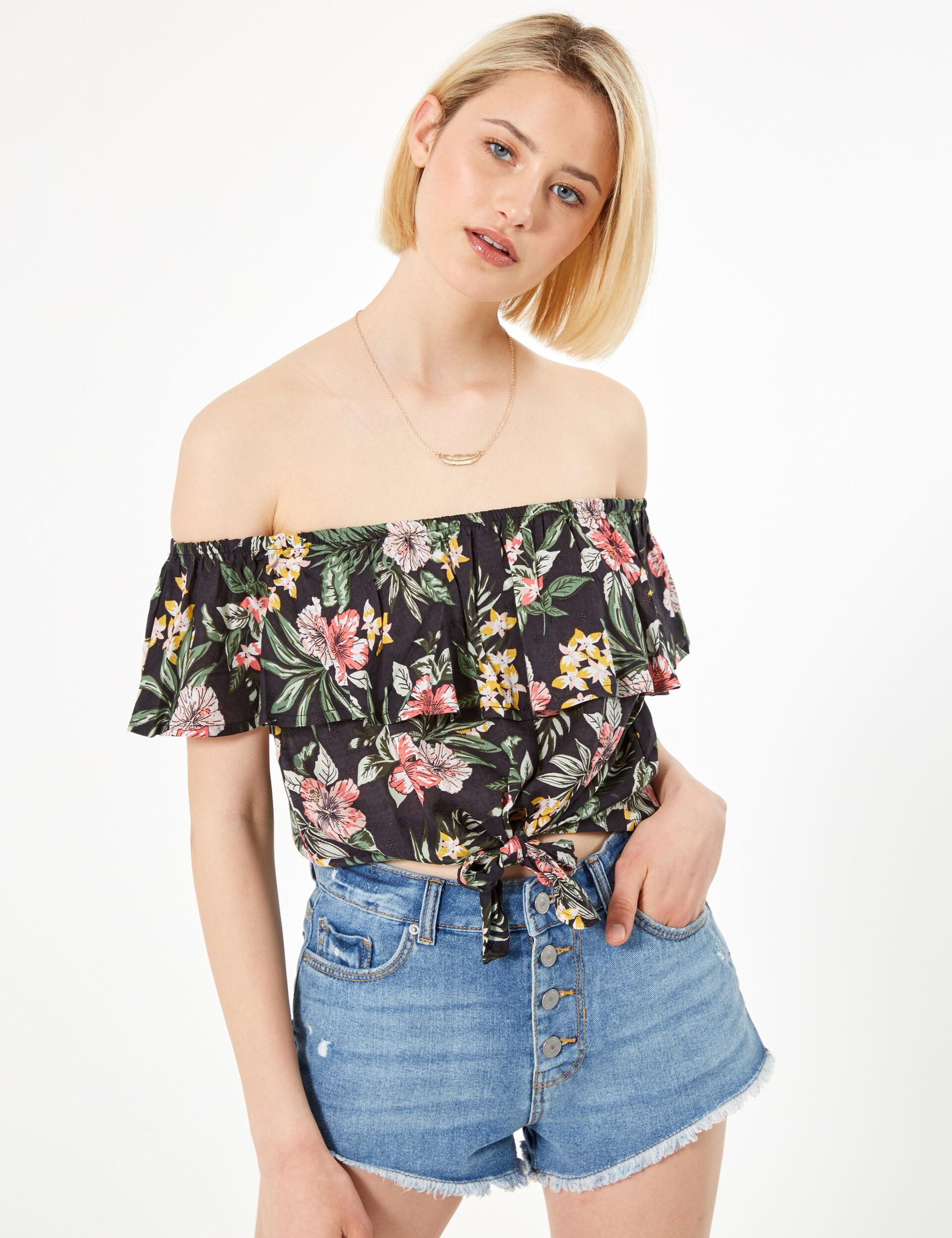 Black floral blouse with frill detail