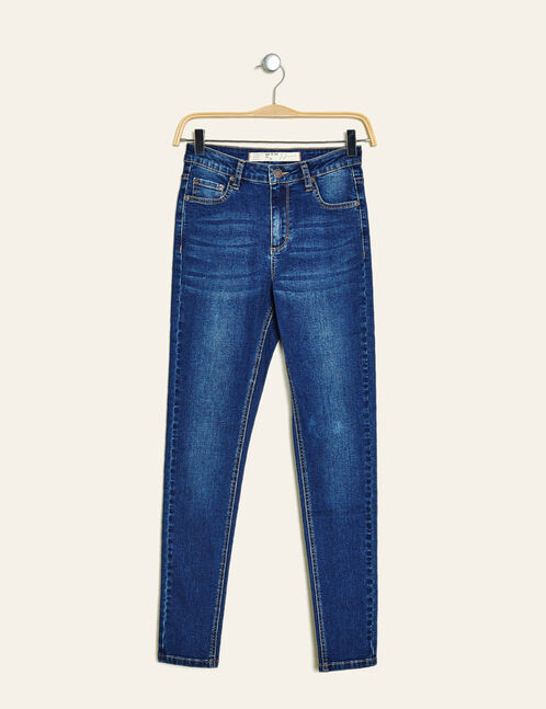 Medium blue high-waisted super skinny jeans