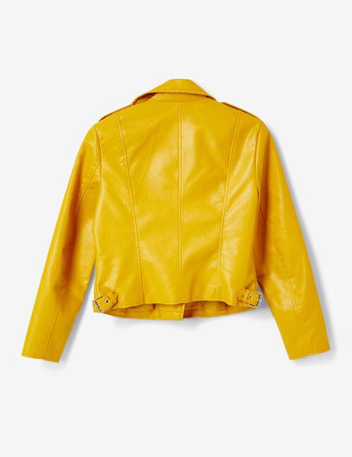 Ochre biker jacket with zip detail