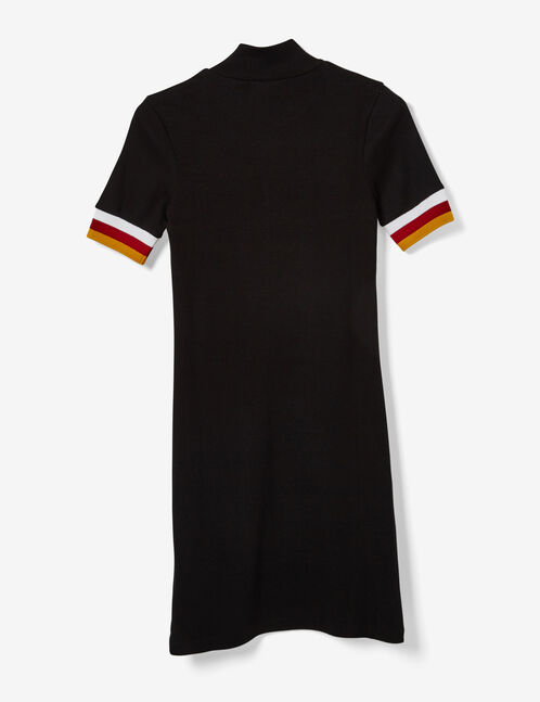 Black, ochre, red and white sporty dress