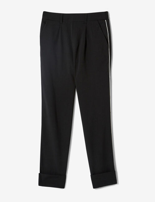 Black turn-up trousers