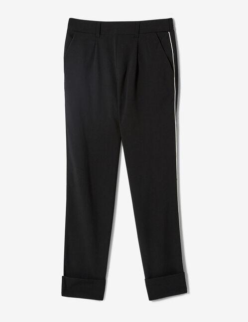 pantalon avec revers noir