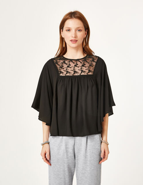 Black blouse with lace detail