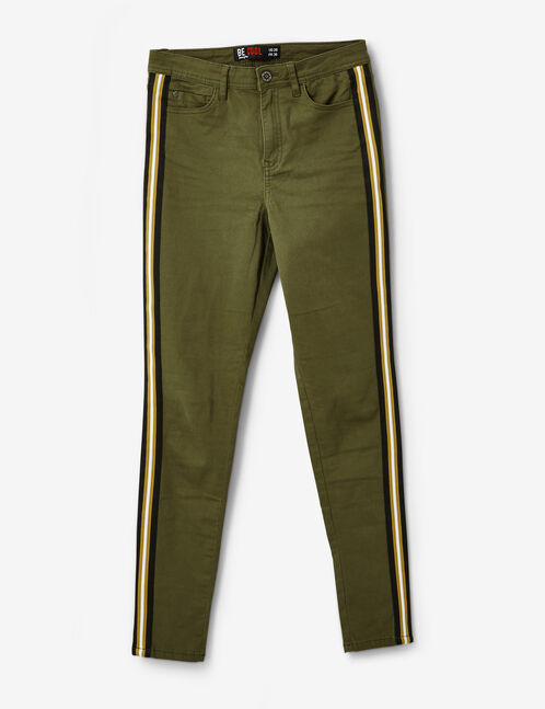 Khaki trousers with striped trim detail