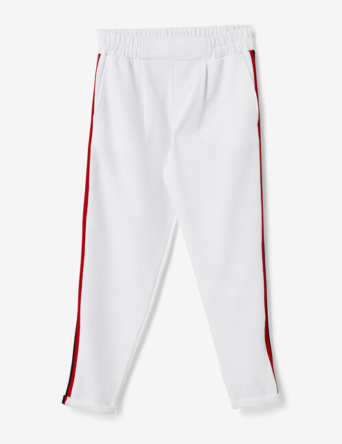 White joggers with striped side trim detail