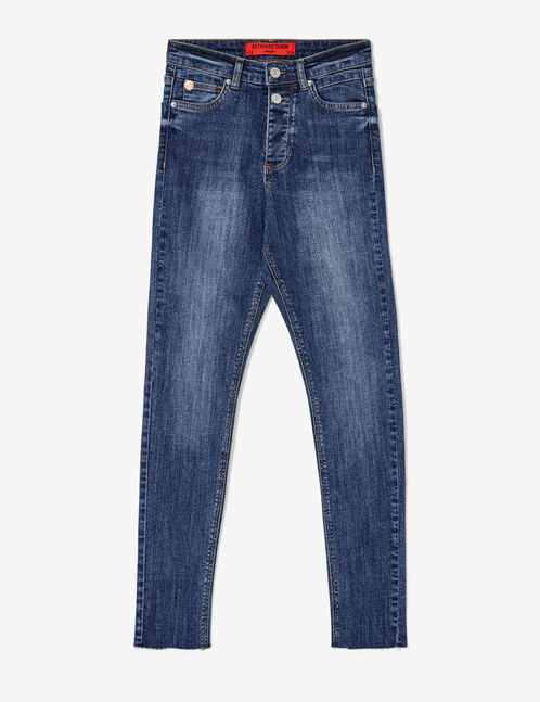Medium blue frayed jeans