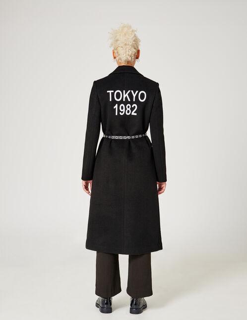 manteau long à message noir