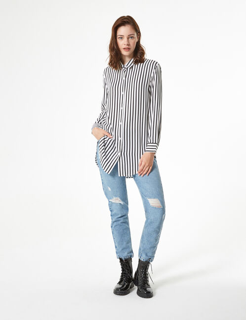 Striped loose-fit shirt