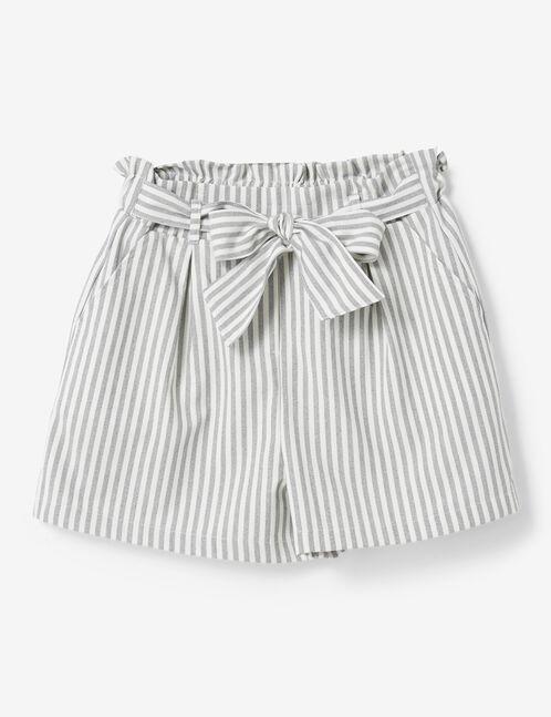 Grey marl and cream striped draped shorts