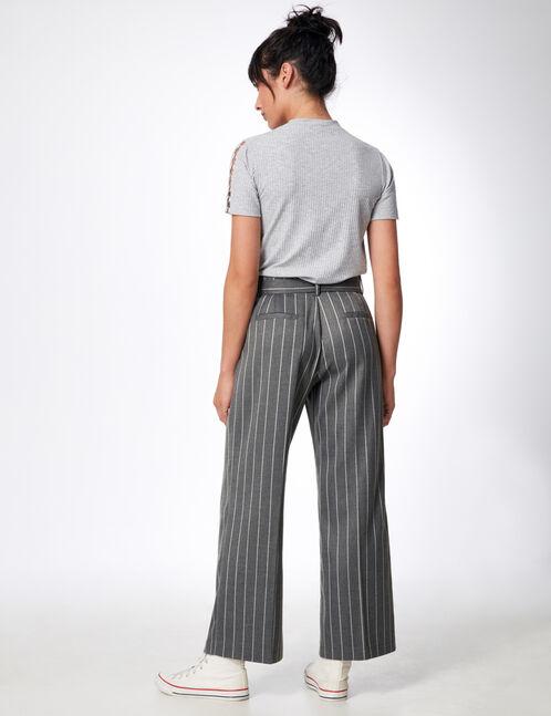 pantalon large rayé gris