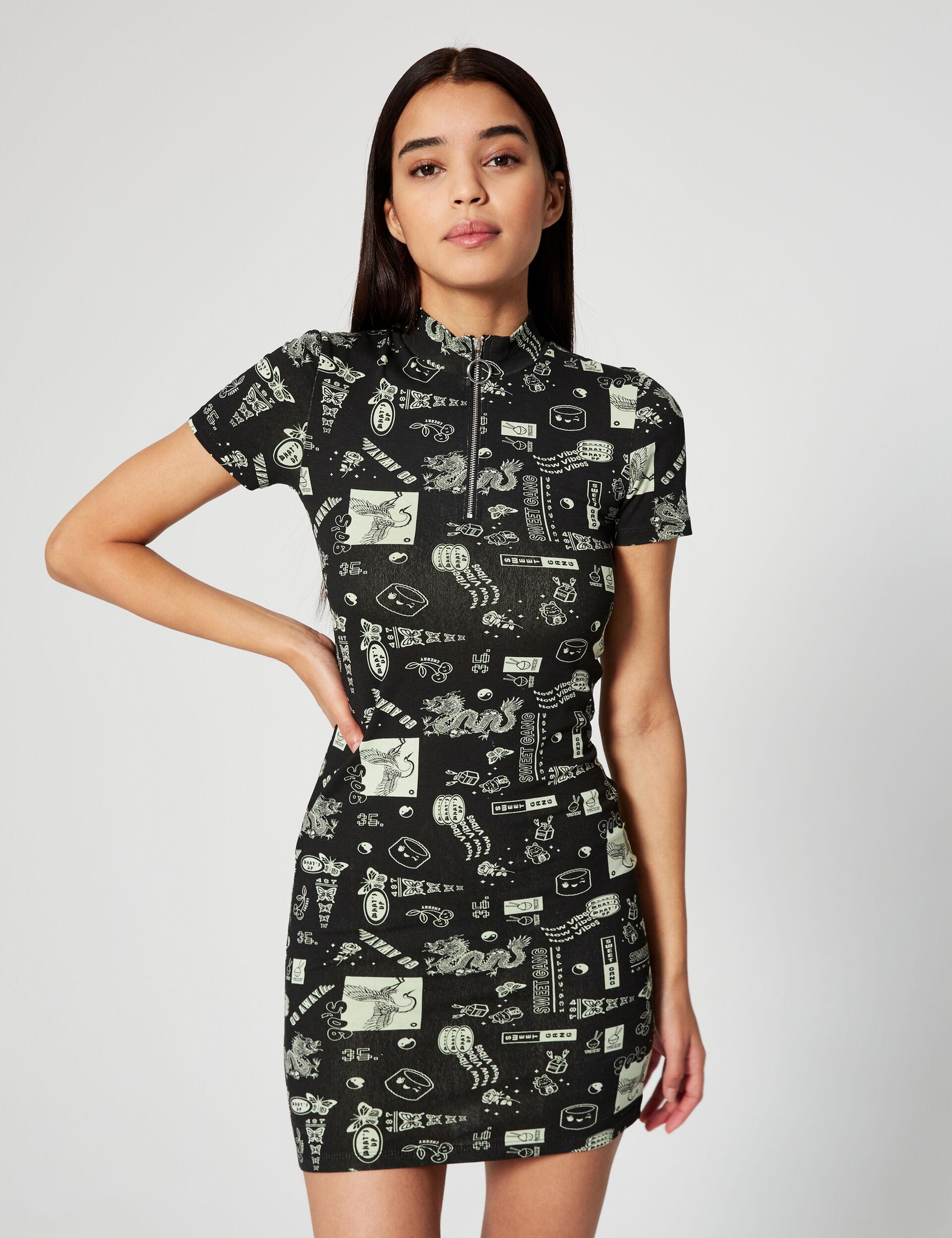 Robe imprimée zippée