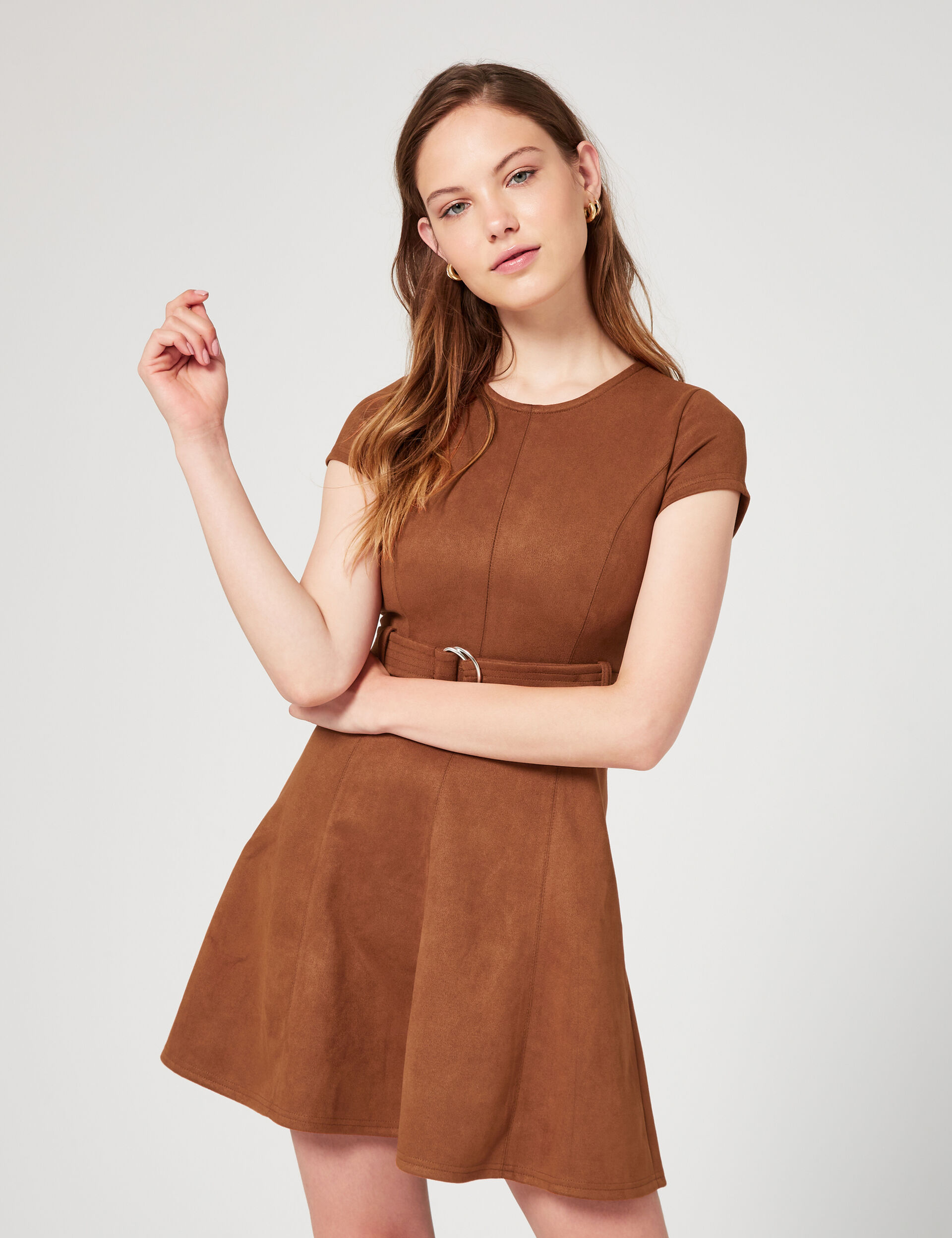Suedette flared dress